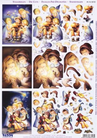 Children's Christmas Nativity Scenes Designs Die Cut 3d Decoupage 2 Sheets From Reddy Creative Cards